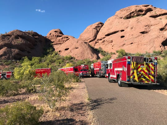 Phoenix and Tempe fire crews responded to a call of a hiker who fell about 40 feet at Papago Park on Wednesday.