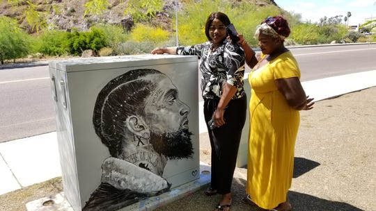 Maria Mateus and Danielle Mosley visited the mural to pay their respects.