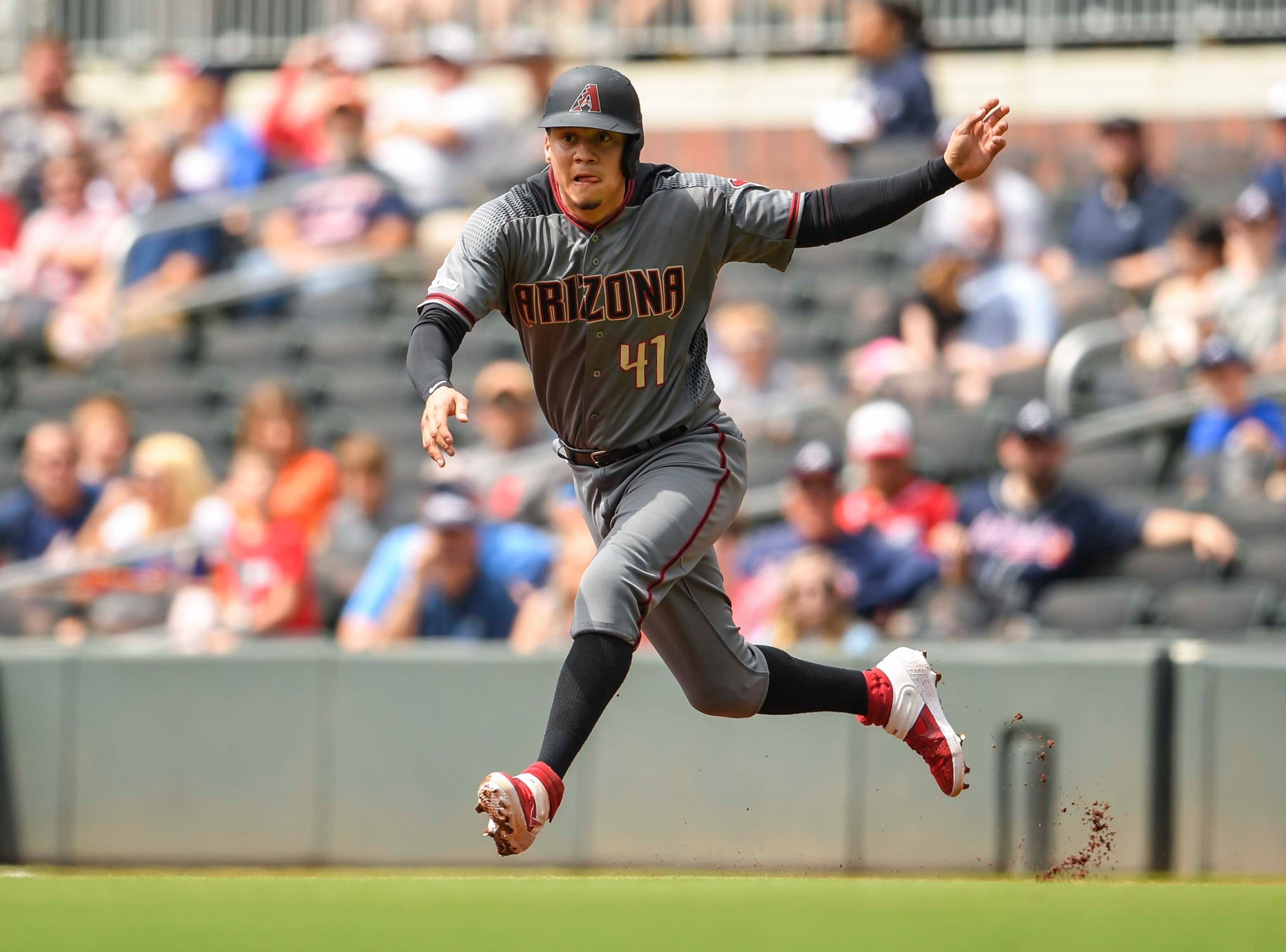 Apr 18, 2019; Atlanta, GA, USA; Arizona Diamondbacks second baseman Wilmer Flores (41) shown running the bases prior to scoring against the Atlanta Braves during the first inning at SunTrust Park. Mandatory Credit: Dale Zanine-USA TODAY Sports