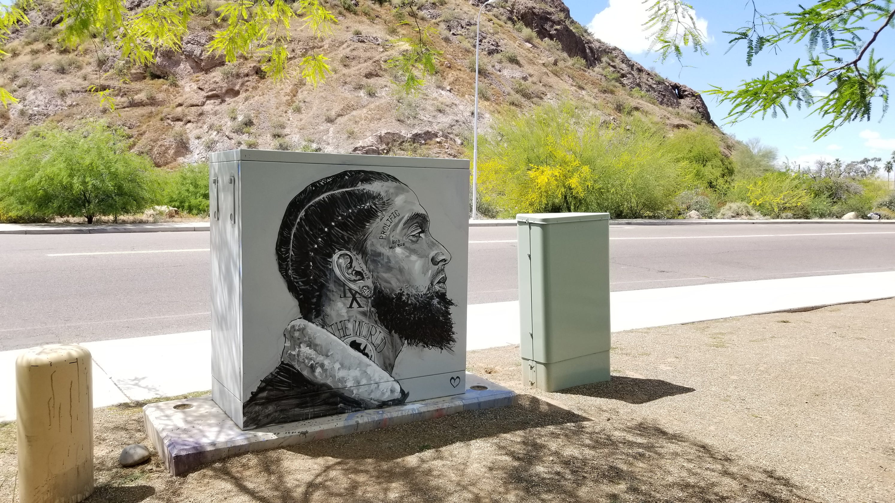 Tempe artist honors slain rapper Nipsey Hussle with street art