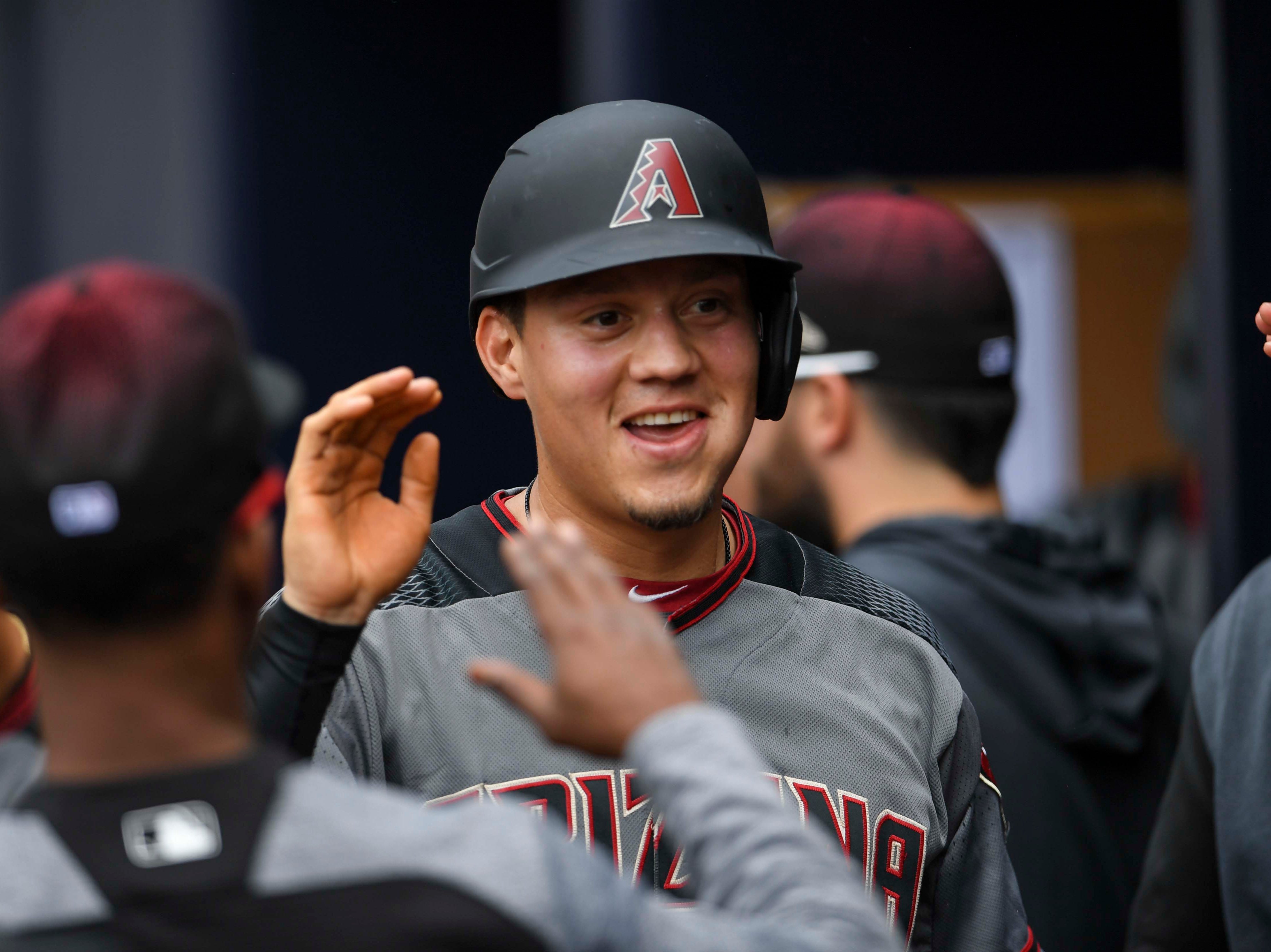 Apr 18, 2019; Atlanta, GA, USA; Arizona Diamondbacks second baseman Wilmer Flores (41) shown in the dugout after scoring a run against the Atlanta Braves during the first inning at SunTrust Park. Mandatory Credit: Dale Zanine-USA TODAY Sports