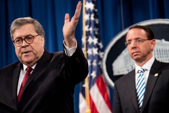 El fiscal de EEUU William Barr habla con los medios tras entregar el reporte de Mueller.