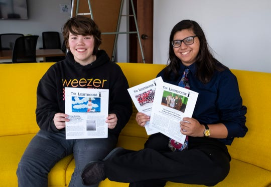 Port Huron High School sophomores Emilia Lozano, right, and James Barden recently restarted The Lighthouse, the school's student-produced newspaper.