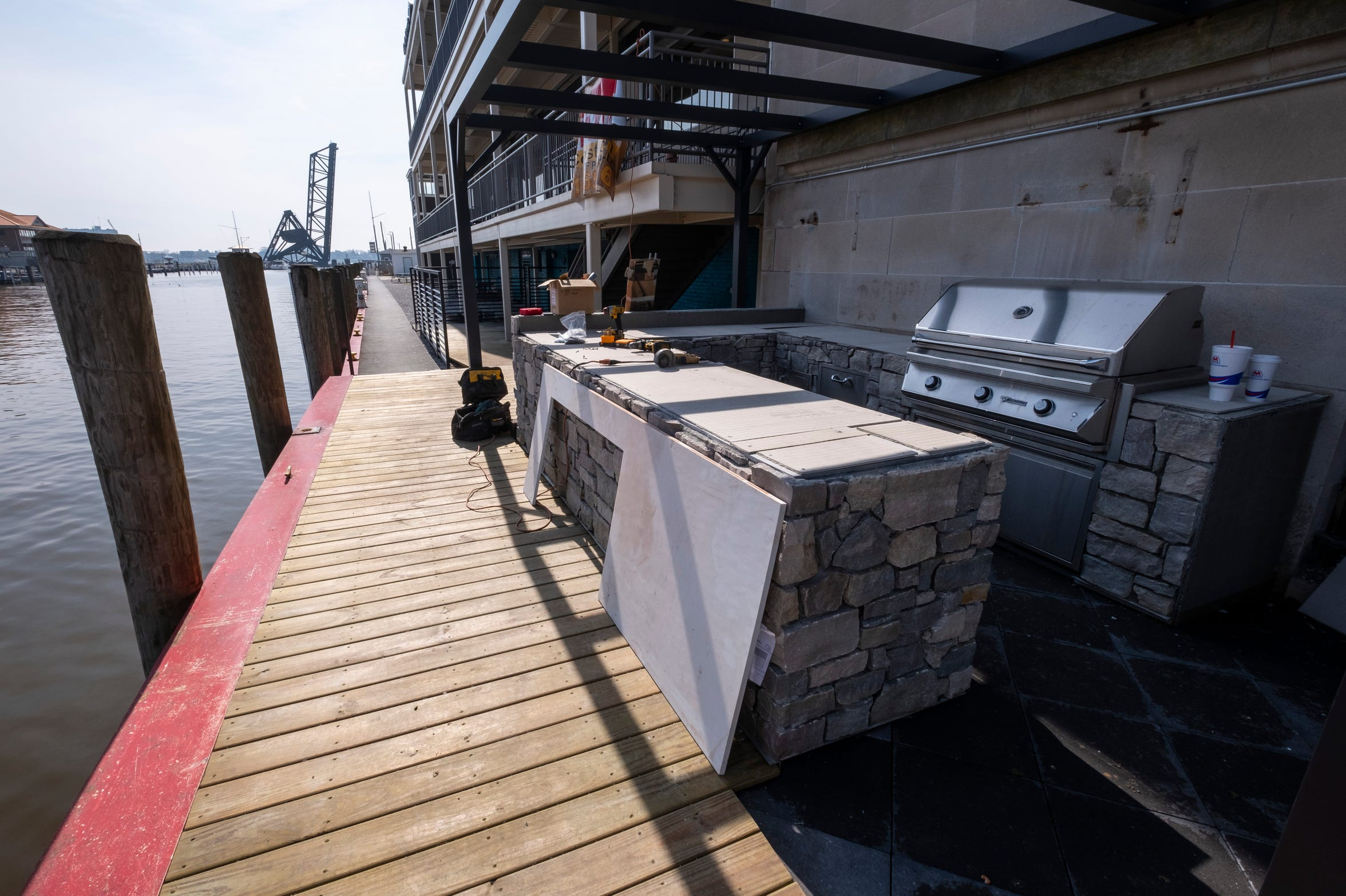 Construction is progressing on Fairweather Grill on the deck outside CityFlats Hotel. It is expected to start being open Memorial Day weekend, and will remain open on days with good weather.