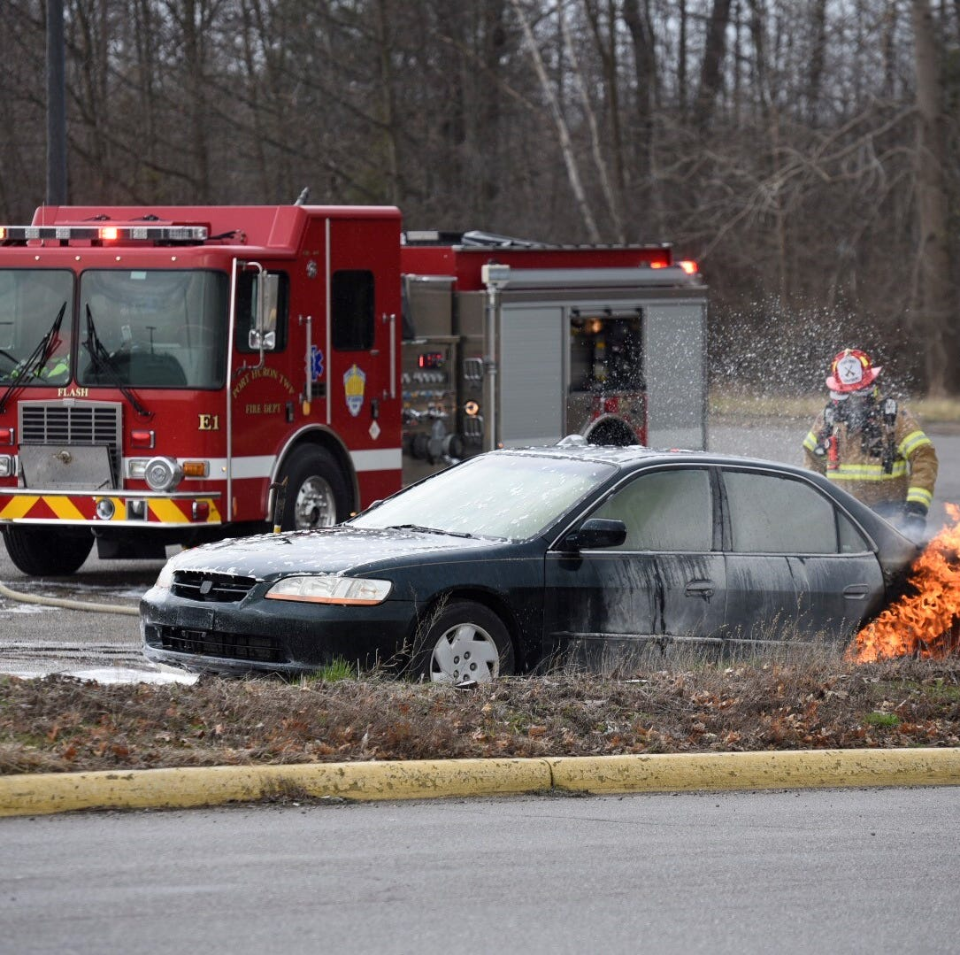 Rescue crews respond to vehicle fire in Port Huron Twp.