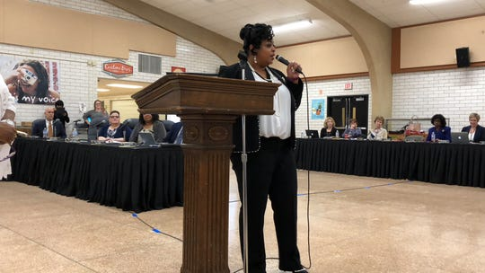 Assistant Superintendent Andrea Berry speaks at the Wednesday, April 17 school board meeting after being appointed 2019-20 superintendent of York City School District. (Photo by: Lindsay C. VanAsdalan)
