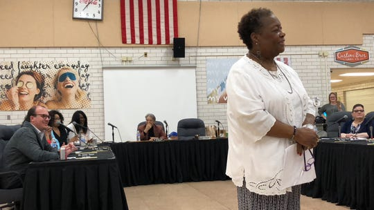 York City School Board President Margie Orr (front) and board members listen to newly-appointed 2019-20 Superintendent Andrea Berry speak at the Wednesday, April 17 board meeting at William Penn Senior High School. (Photo by: Lindsay C. VanAsdalan)
