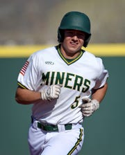 Bishop Manogue's Rylan Charles rounds the bases after hitting a home run against Galena during Tuesday's game at Bishop Manogue.