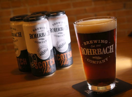 Scotch Ale, by the pint or in cans, served up at Rohrbach Beer Hall on Railroad Street in Rochester Thursday, April 18, 2019.