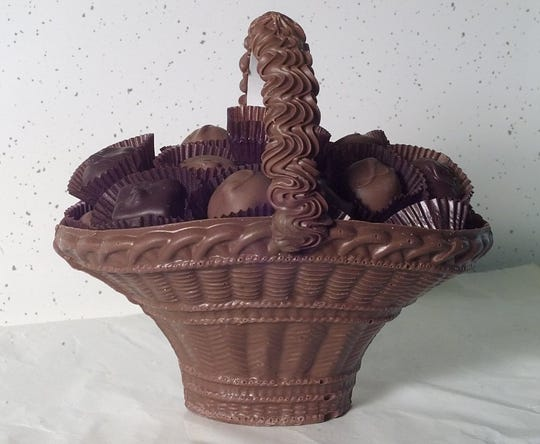 December 1998: Chocolate baskets are a hot-selling item at Peter's Sweet Shop on South Clinton Avenue.