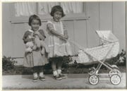 About 1961: Vicki Ono (3), left, and her sister Miyoko Ono (5) play in front of their childhood home in Bakersfield. They're the second generation of their family to be born in the United States.