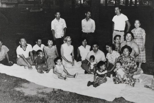 1958: Vicki Ono (center, baby) and her extended family picnic in spring in Bakersfield.