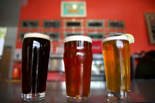 Cerveza Negra, Pale Especial and Playa Pilsener beers are pictured at Xicha Brewing in Salem on April 17, 2019.