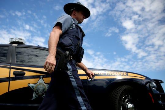 Oregon State Police Senior Trooper Jeff Freitag patrols on I-5 south of Salem on April 18, 2019.