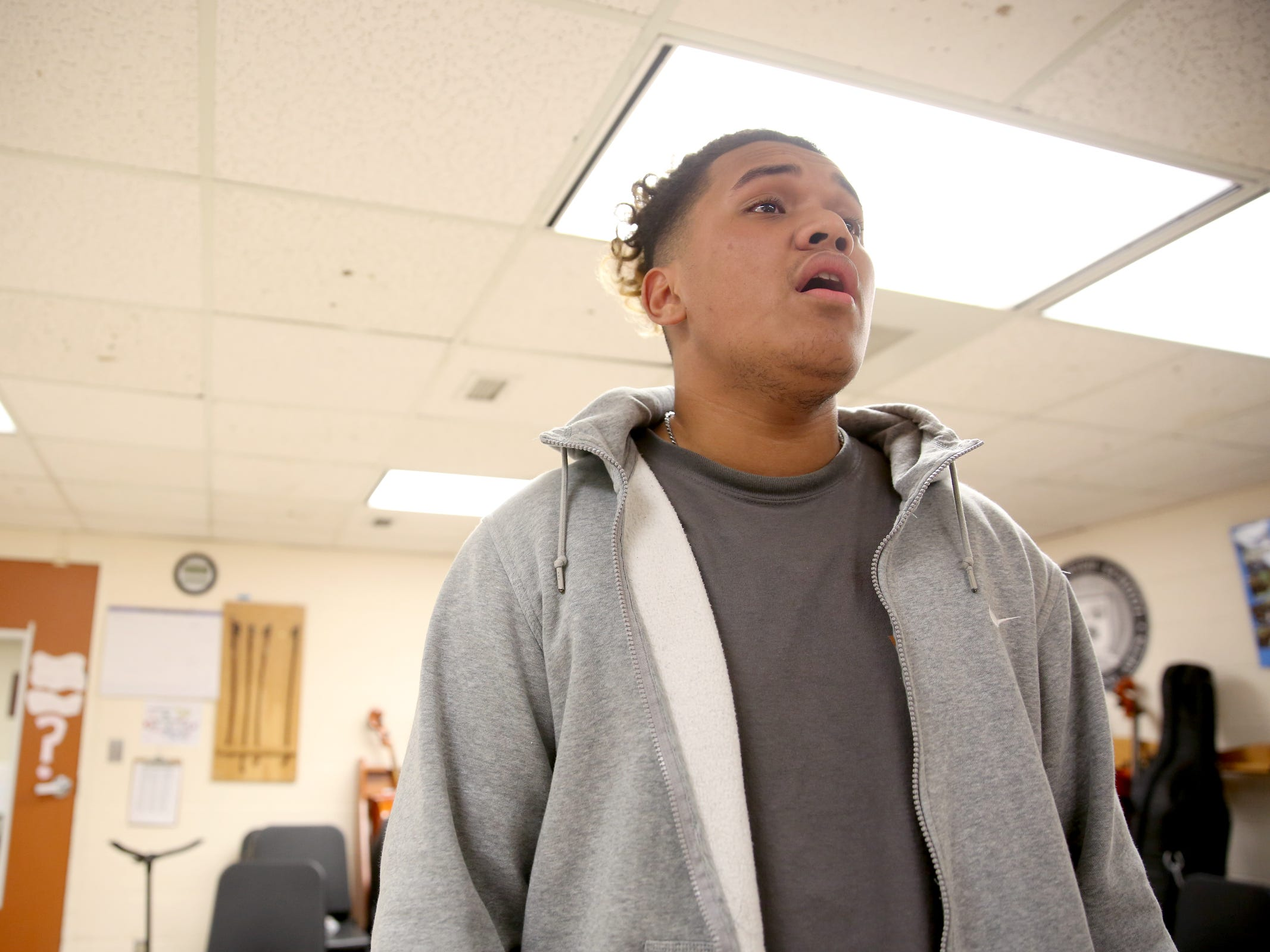 LJ Allise, a McKay senior, takes private singing lessons thanks to the Music Lessons Project which offers private or small group lessons to students in Title I schools. Photographed at McKay High School in Salem on April 17, 2019.