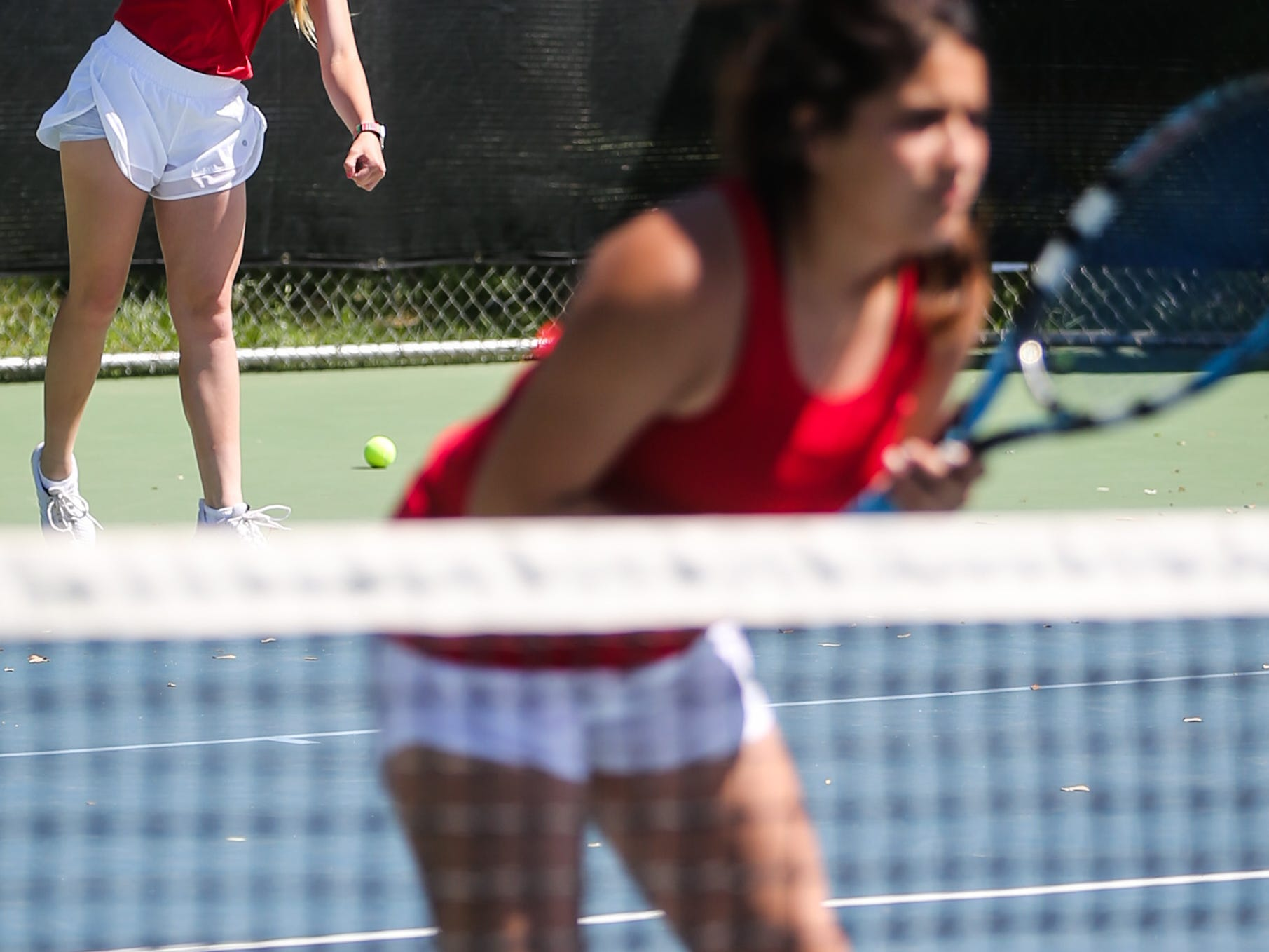 Chillicothe's Ryan Knowles serves during the doubles game with partner Melanie Correa during the region II -1A tennis championship Thursday, April 18, 2019, at Bentwood Country Club.