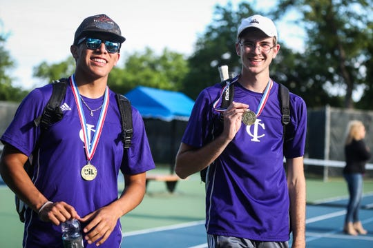 Irion County's Nathan Chacon and Andrew Dareing walk off the court after winning the doubles game during region II -1A tennis championship Thursday, April 18, 2019, at Bentwood Country Club.