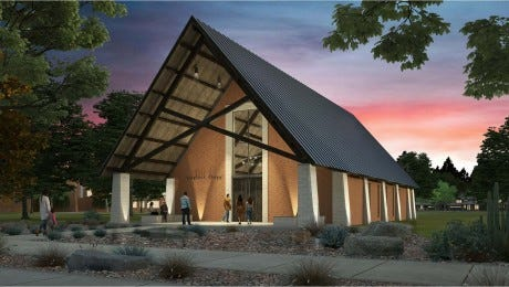 Artwork of the new Stephens Chapel being built at Angelo State University.