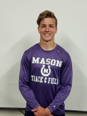 Mason's Tad Kirby won five gold medals at the Districts 27&28-2A Area Track and Field Meet Tuesday, April 16, 2019, in Charlotte.