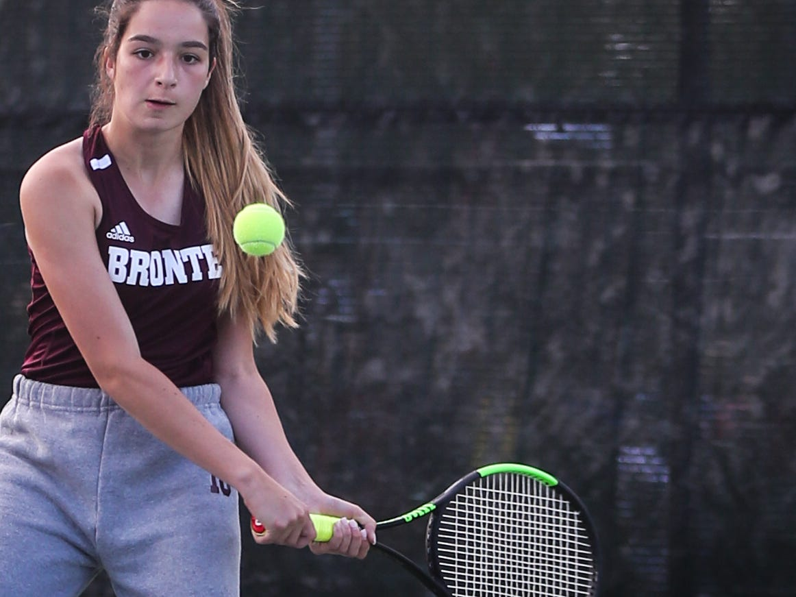 Bronte's Carmen Ruiz-Jimenez swings at the ball during the region II -1A tennis championship Thursday, April 18, 2019, at Bentwood Country Club.