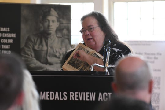 Linda Duyer, Salisbury Historian with a concentration in Delmarva African American History, speaks about a local soldier Sargent William A. Butler on Thursday, April 18, 2019 during the announcement of the World War I Valor Medals Review Act, a new bipartisan legislation that will ensure that minority Veterans who served during WWI get the recognition they deserve.