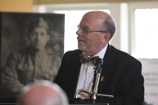 Dr. Timothy Wescott, Associate Professor of History- Park University, Missouri, speaks on Thursday, April 18, 2019 about the announcement of the World War I Valor Medals Review Act, a new bipartisan legislation that will ensure that minority Veterans who served during WWI get the recognition they deserve.