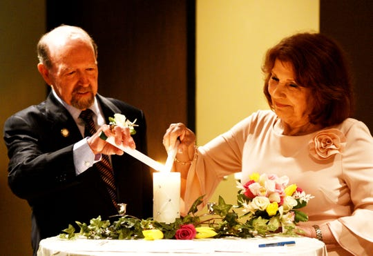 Bossier City Mayor Lo Walker and Connie Cash marry in a small ceremony at First Baptist Church Bossier by pastor Brad Jurkovich Thursday afternoon, April 18, 2019.