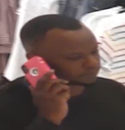 Suspect wanted for stealing merchandise at Dillard's is seen on surveillance.