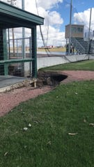 The spring floods in Dell Rapids caused major erosion at Rickeman Field.
