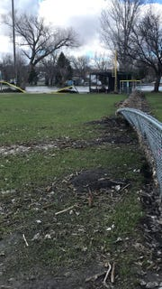 The spring flooding has caused major damage in right field at Rickeman Field in Dell Rapids.