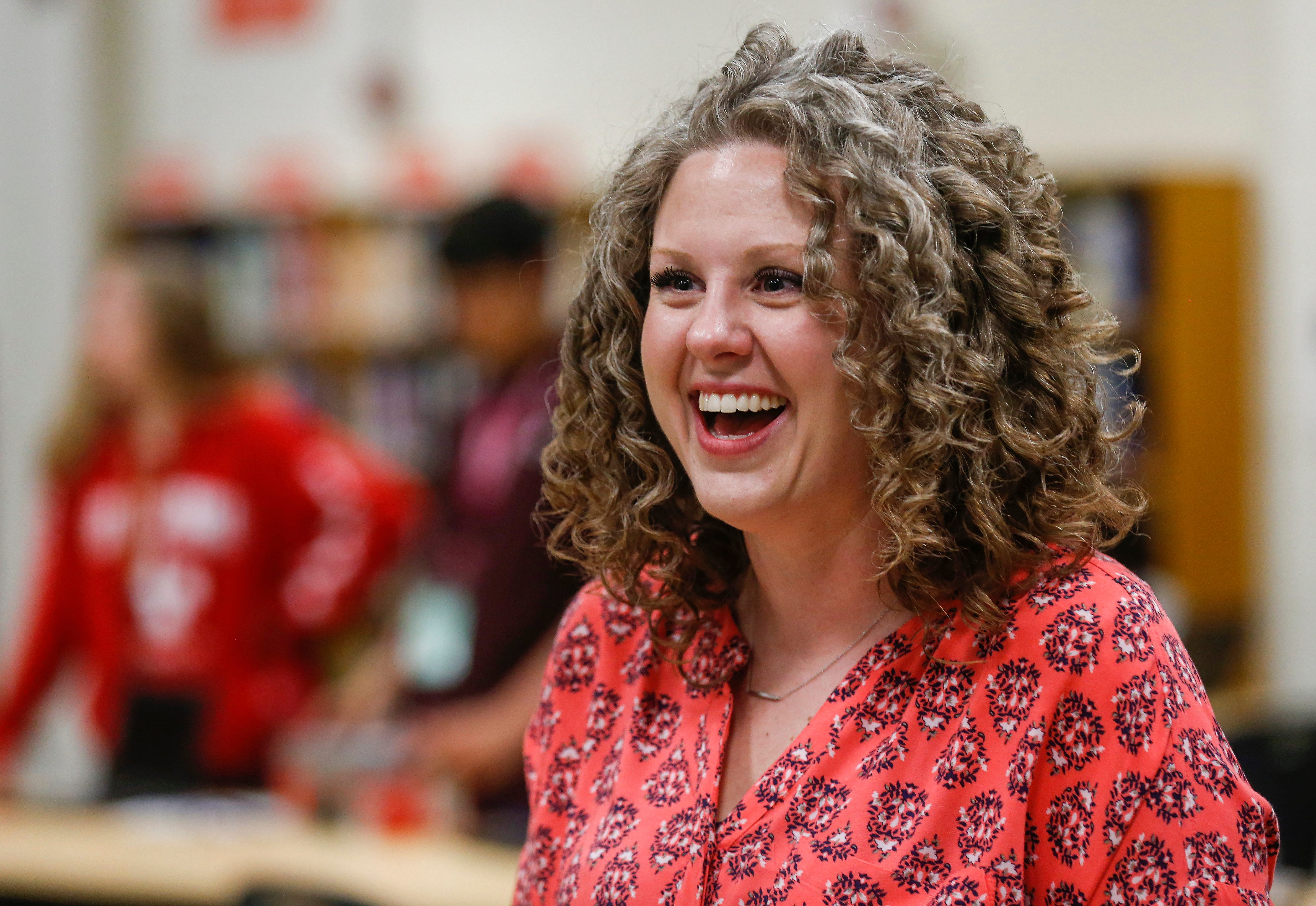 Courtney Dameron, a teacher at Hillcrest High School, laughs with students on Thursday, April 18, 2019. Dameron was named Springfield Public Schools' Teacher of the Year for the 2019-20 school year.