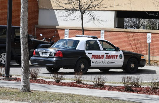 A St. Cloud State public safety car is parked outside the public safety center on campus Thursday, April 18, in St. Cloud.
