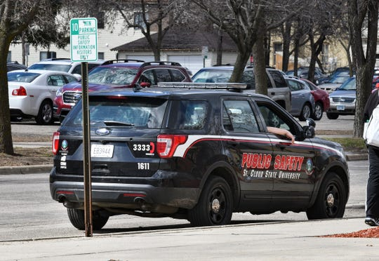 A St. Cloud State public safety car is pictured near the public safety center Thursday, April 18, in St. Cloud.