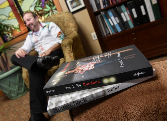 Forensic psychologist and author Frank Weber talks about inspiration for his work during an interview Tuesday, April 16, 2019, in Sartell.