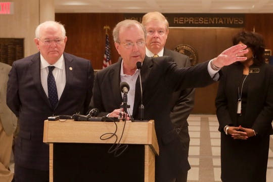 Coastal Carolina University Head Basketball Coach and Chipley native Cliff Ellis speaks during a news conference held to discuss state disaster relief funds with college sports coaches and lawmakers Thursday, April 18, 2019.