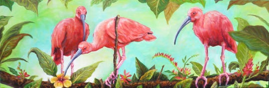 Attendees to the opening reception for Creative Tallahassee on April 25th will encounter Alina Bachmann's scarlet ibises and wreathed hornbills in startling pinks, greens, blues and reds.