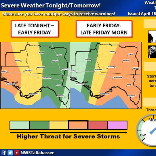 Strong storms could hit Tallahassee area overnight