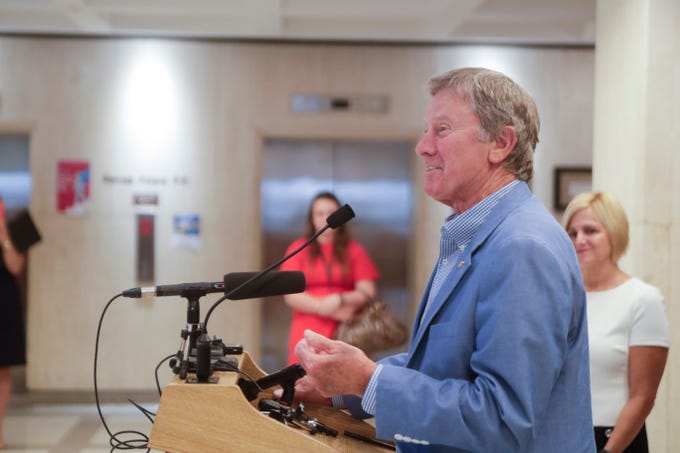 Former University of Florida Head Football Coach Steve Spurrier speaks during a news conference held to discuss state disaster relief funds with college sports coaches and lawmakers Thursday, April 18, 2019.