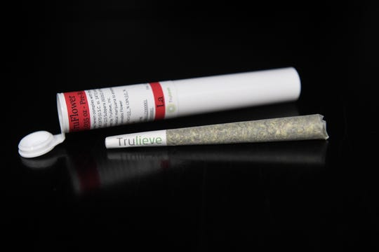 A single pre-rolled smokable cannabis flower is seen at the Trulieve Medical Marijuana Treatment Center on Wednesday, April 17, 2019, in Vero Beach. The smokable cannabis flower must be sold in a sealed white/opaque container with the company logo and warning language. Physicians must update the patient's Medical Marijuana Use Registry profile that they can consume cannabis in smokable form before the smokable product can be purchased.