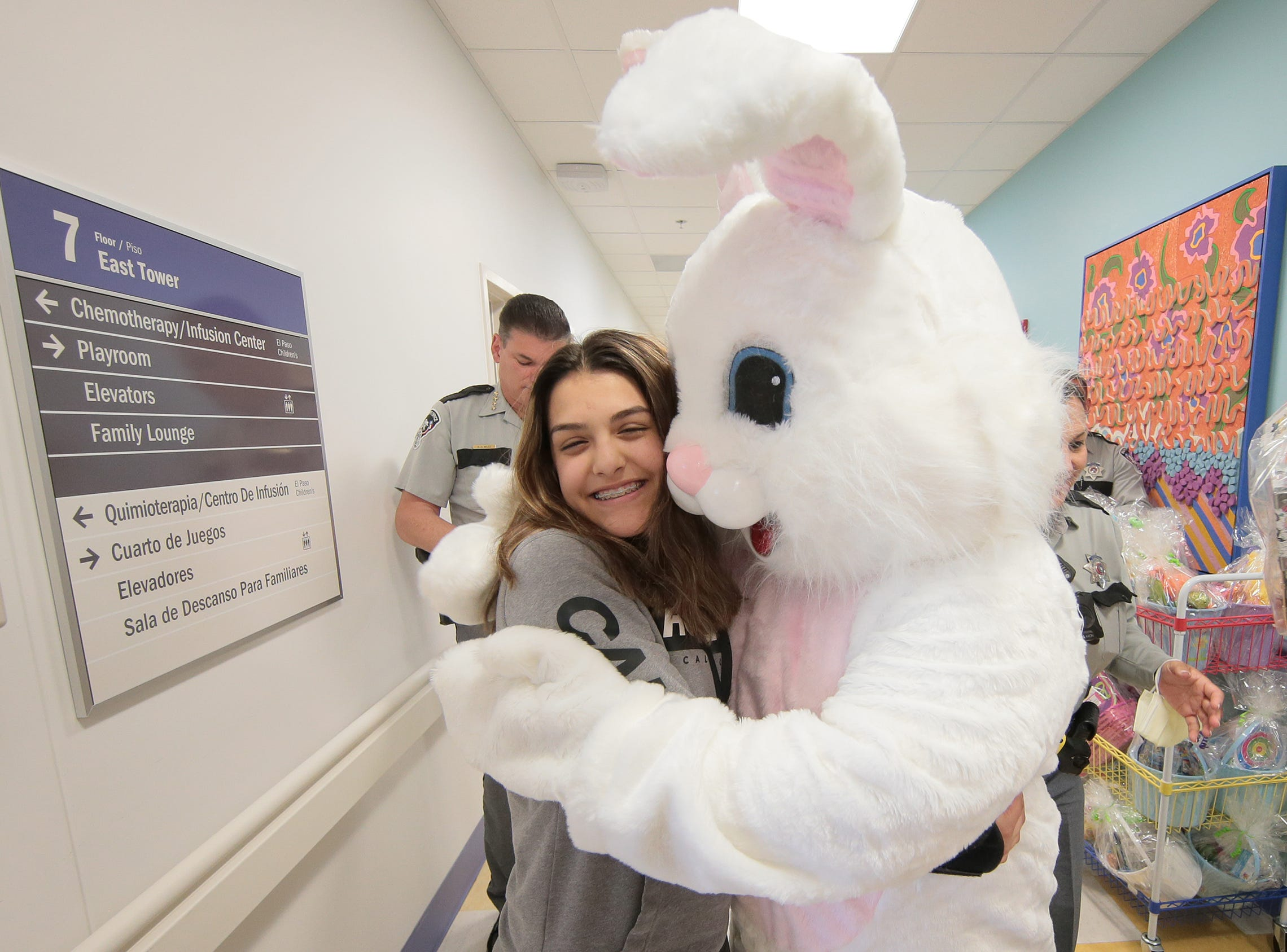 The El Paso Sheriff's Office, led by Sheriff Richard Wiles and the Easter Bunny, visited kids at El Paso Children's Hospital on Thursday, April 18, 2019.