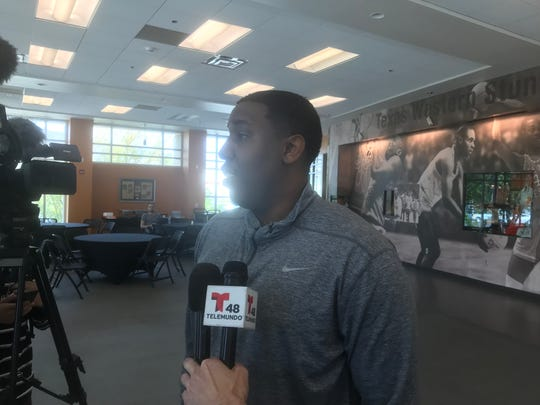 Kenton Paulino meets with the media as he was introduced at UTEP's new top men's basketball assistant Wednesday