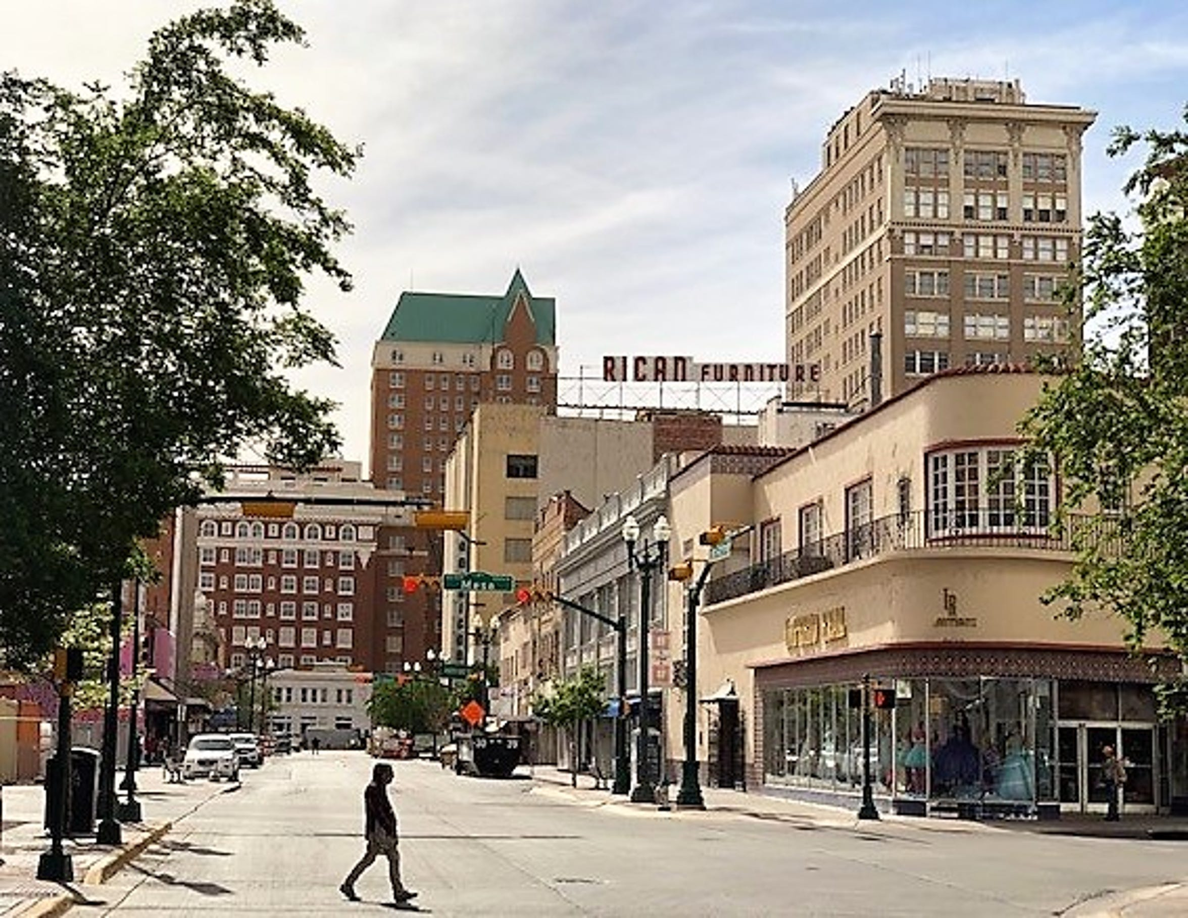 The view of the Hotel Paso Del Norte and other buildings looking south on San Antonio Avenue in Downtown El Paso. A parking garage, now being built  at San Antonio and South El Paso Street, will obscure some of the view in the future.