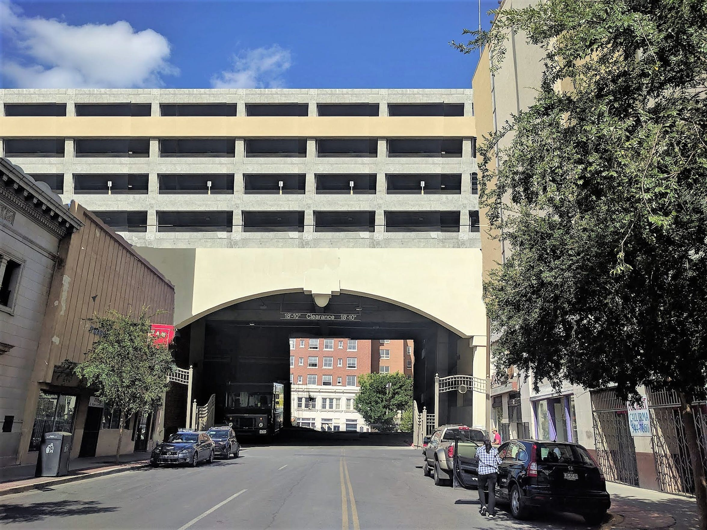 This simulation gives a rough idea of how a parking garage would obstruct a view of the Hotel Paso Del Norte looking down San Antonio Avenue. This was produced for architectural historian Max Grossman, who is lamenting losing the historic view.