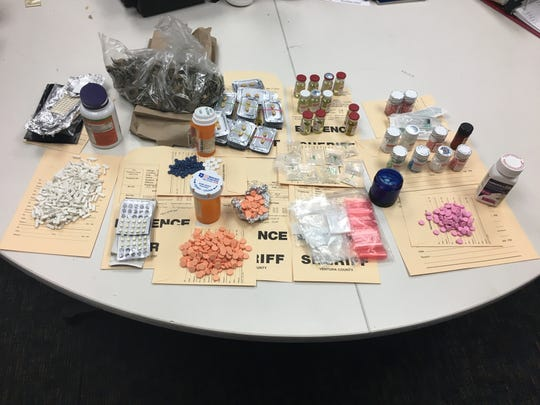Evidence seized during a narcotics arrest in Simi Valley on Tuesday.