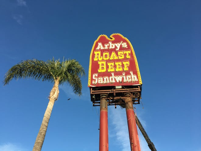Erected when the original Ventura Arby's was built in 1969, the restaurant's vintage sign is seen in mid-demolition on April 13, 2019. The city confirmed this week that it was removed without a permit.
