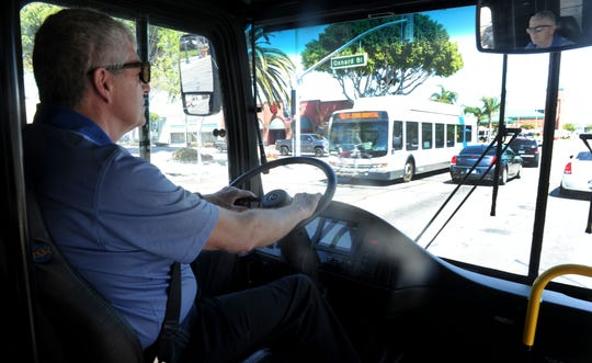 Nate Schroder, bus driver for New Flyer of America, drives the all-electric bus Xcelsior Charge bus. Gold Coast Transit District was testing the bus on a route from Oxnard to Ventura.