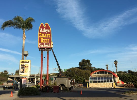 A two-man crew equipped with a truck and a hydraulic lift started demolishing the vintage Arby's sign in Ventura on April 13, 2019. The work was done without warning or a permit. Preservationists had offered to move the sign to the Valley Relics Museum at no cost to the sign's owner.