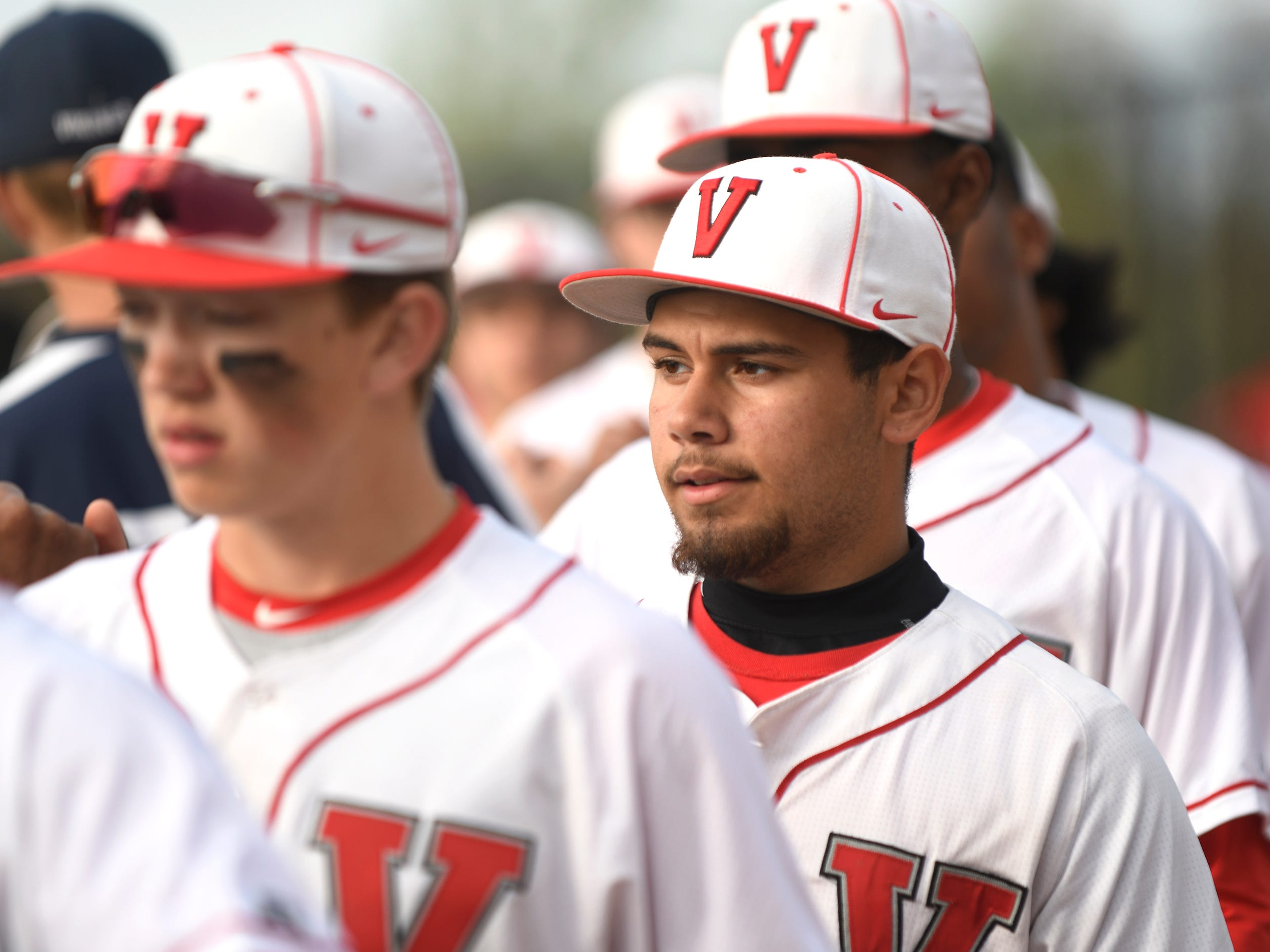 The Fighting Clan's Steven Gonzalez lines up with his team following Wednesday's 12-2 win over Atlantic City in Vineland.