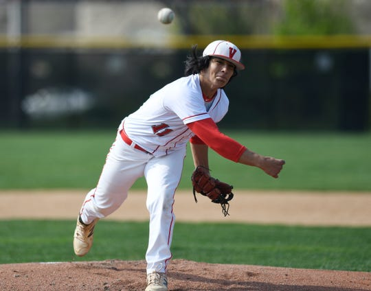 Vineland's Andrew Simone on the mound against Atlantic City on Wednesday. The Fighting Clan topped the Vikings 12-2.