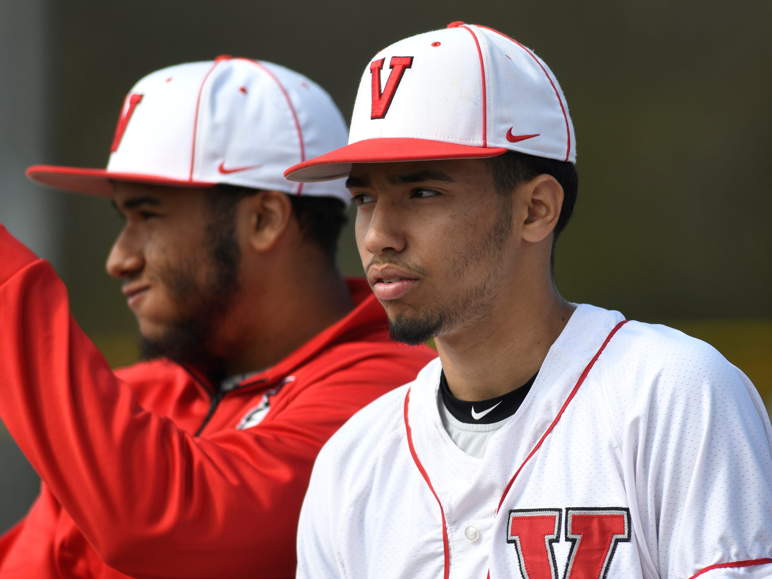 Vineland coach John Malatesta selected Andrew Rodriguez, right, as one of the team captains before Wednesday's matchup against Atlantic City. The Fighting Clan dismantled the visiting Vikings 12-2.